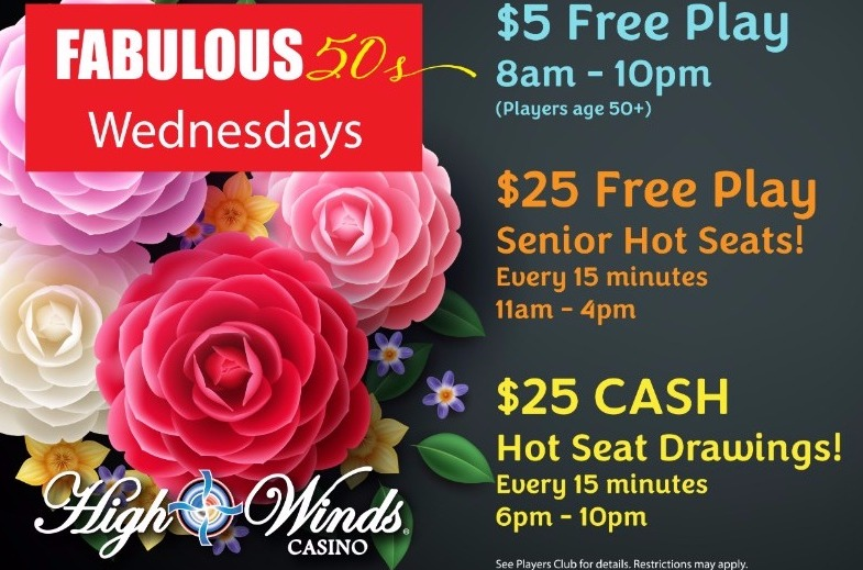 Fabulous 50s Wednesdays $5 Free Play 8am to 10pm Hot Seat Drawings