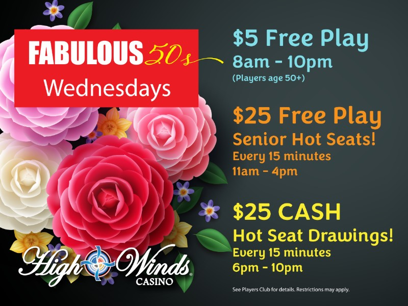 Fabulous 50s Wednesday's $25 Free Play Drawings