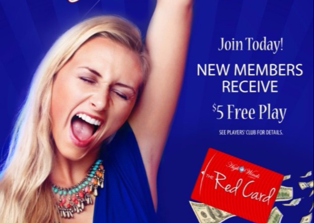 New Red Card Member recieve $5 Free Play