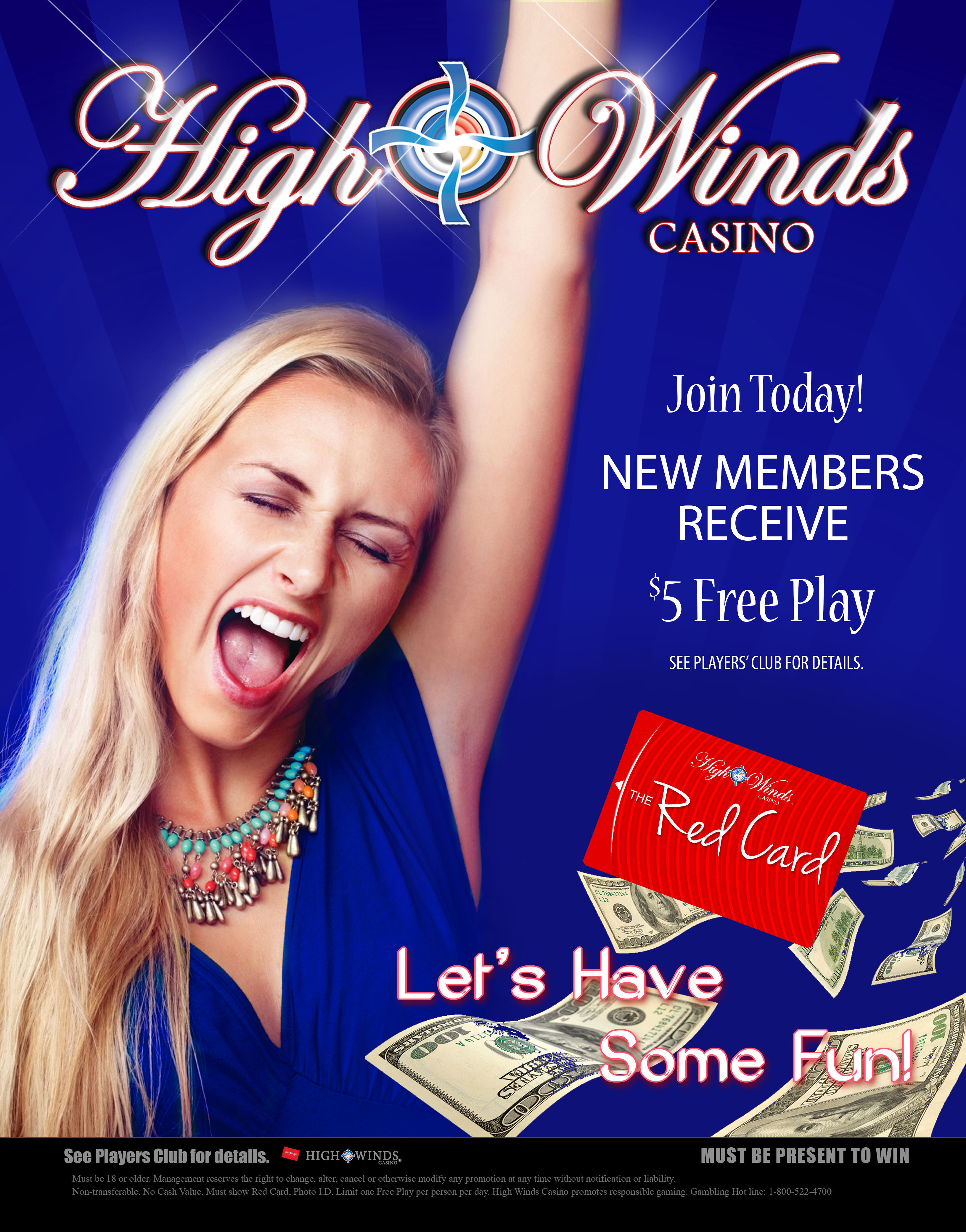 Join the Red Card Club and let the fun begin! New members recieve $5 free play just for joining. Your red card allows you to win our in house progressive jackpots in Area 51. Simply insert your card at any Area 51 machine and with any bet you could be on your way to winning a jackpot. Use your Red Card while playing so you can be rewarded with exclusive offers based on your play.
