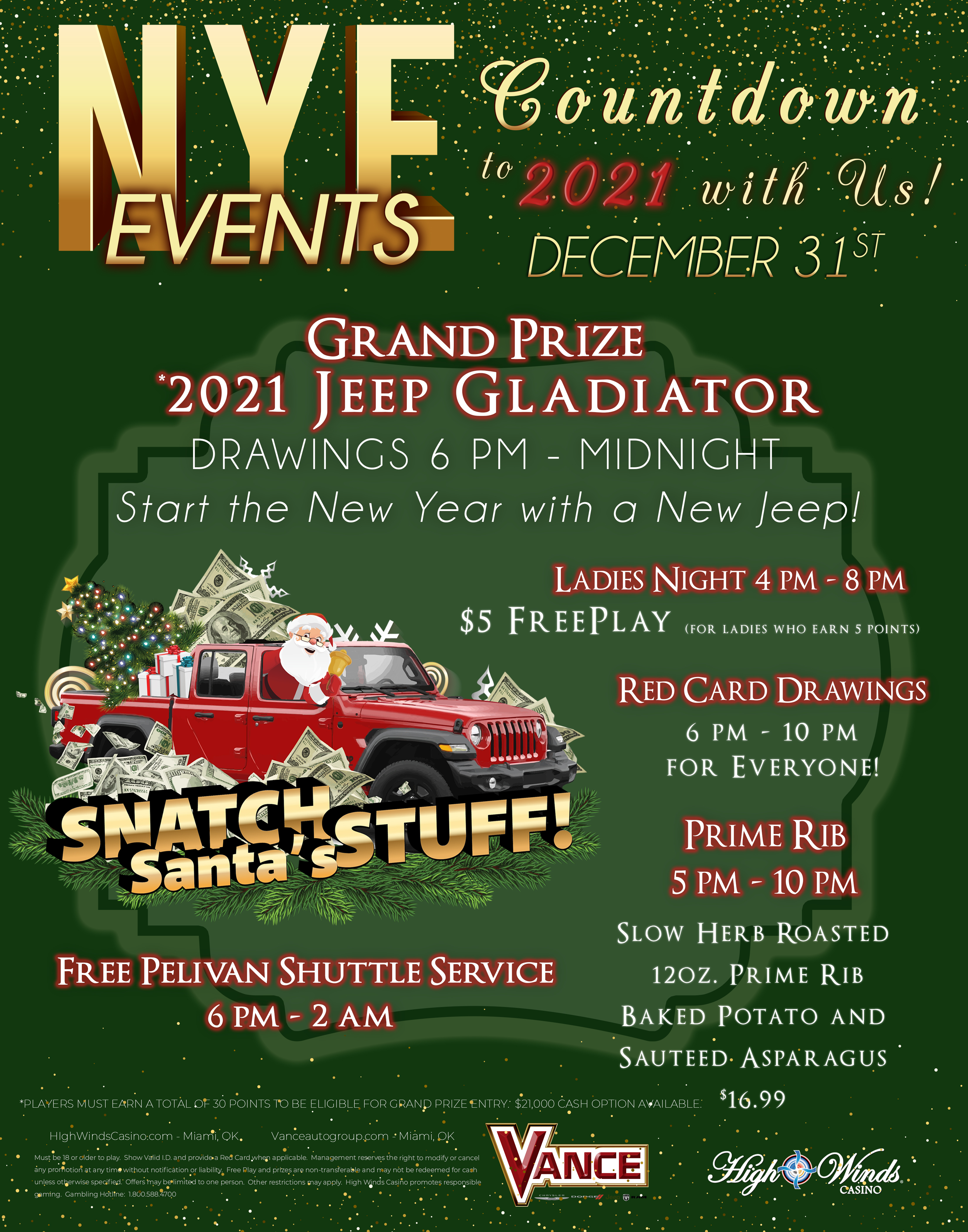 New Years Eve at High Winds 2021 Jeep Gladiator Giveaway