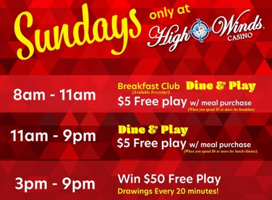 Sundays at High Winds Dine and Play and Free Play Drawings
