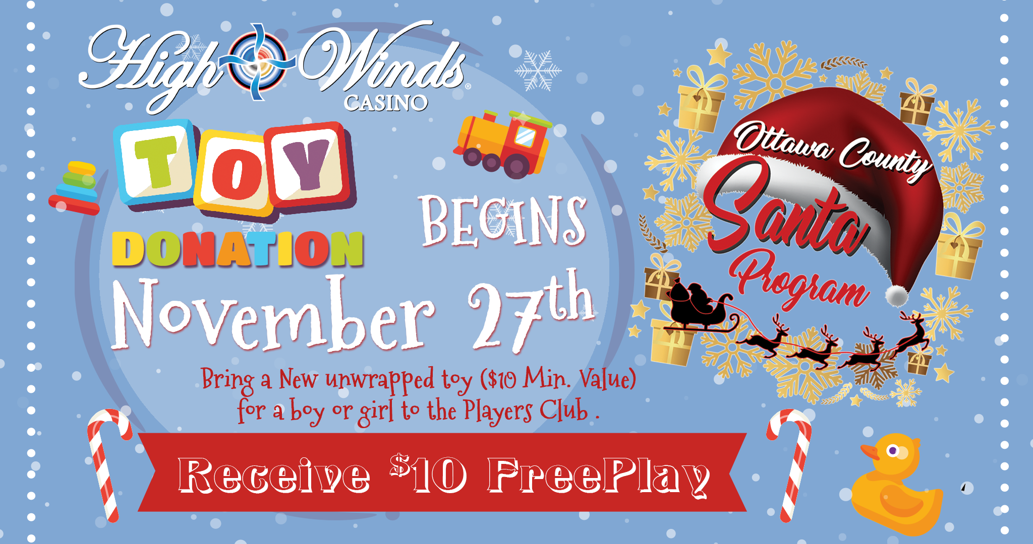 Toy Donation for $10 Free Play